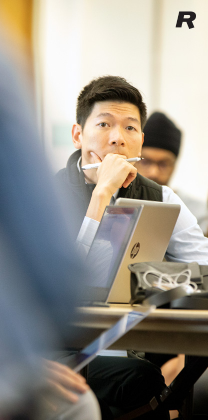 Full-Time MBA student Long Nguyen during a class