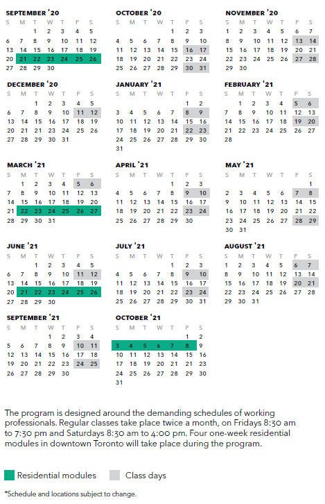 Rotman One-Year Executive MBA Schedule 2020-2021